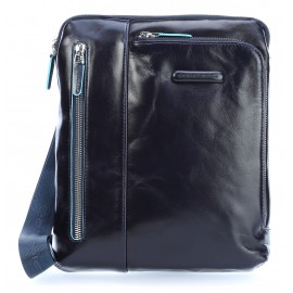 Piquadro - iPad/iPad®Air shoulder pocket bag with pocket for mp3 player and eyelet for earphones Blue Square - CA1816B2