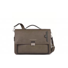 Piquadro - Flap-over, slim, expandable computer briefcase with iPad®Air/ Air2 compartment - CA3111W73