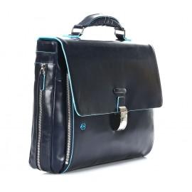 Piquadro - Expandable computer portfolio briefcase with iPad®/iPad®Air compartment Blue Square - CA3111B2