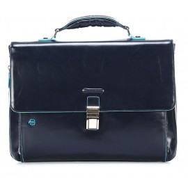 Piquadro - Expandable computer portfolio briefcase with iPad®/iPad®Air compartment Blue Square - CA3111B2