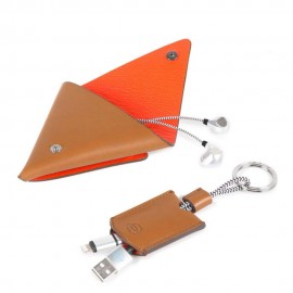 Piquadro - Gift box with earphone triangular leather case and key-chain with USB, micro-USB BagMotic - ACBOX12BM