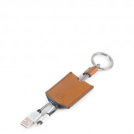 Piquadro - Leather key-chain with USB, micro-USB and lightning cable Collezione BagMotic - AC4236BM