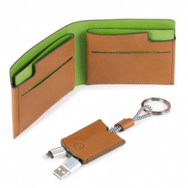 Piquadro - Gift box with pocket men's wallet and key-chain with USB, micro-USB and lightning cable BagMotic - ACBOX11BM