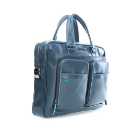 Piquadro - Portfolio computer briefcase with iPad compartment and organised u-zip front pockets Blue Square - CA2849B2