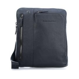 Piquadro - iPad®Air/Pro 9,7 crossbody bag with double front zip pocket Black Square - CA1816B3
