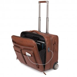 Piquadro - Wheeled PC brief with iPad® compartment, USB and micro-USB enclosure, TSA lock and CONNEQU BagMotic - CA3338B3BM
