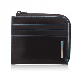 Piquadro - Zipped coin pouch with credit card slots Blue Square - PU3410B2R