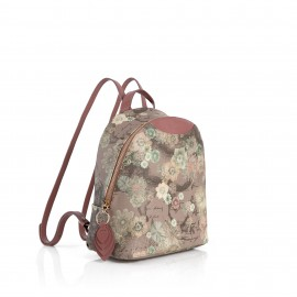 Alviero Martini - THE FLOR-ART PINK GEO TORTORA FLORAL PRINT BACKPACK WITH EMBELLISHED LEAFT DETAIL - LGL789505