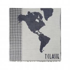 Alviero Martini - WORLD MAP AND PIED DE POULE SIDE BAND WIDE SCARF - K23888537