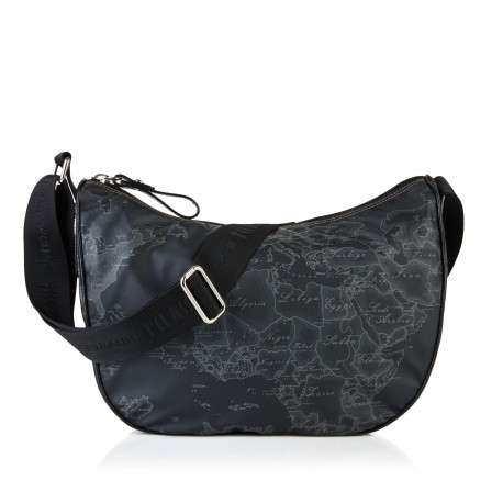 Alviero Martini - MEDIUM GEO SOFT BLACK HALF-MOON CROSSBODY BAG - CN0956535