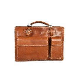 Mhateria - Leather briefcase with double compartment - 28